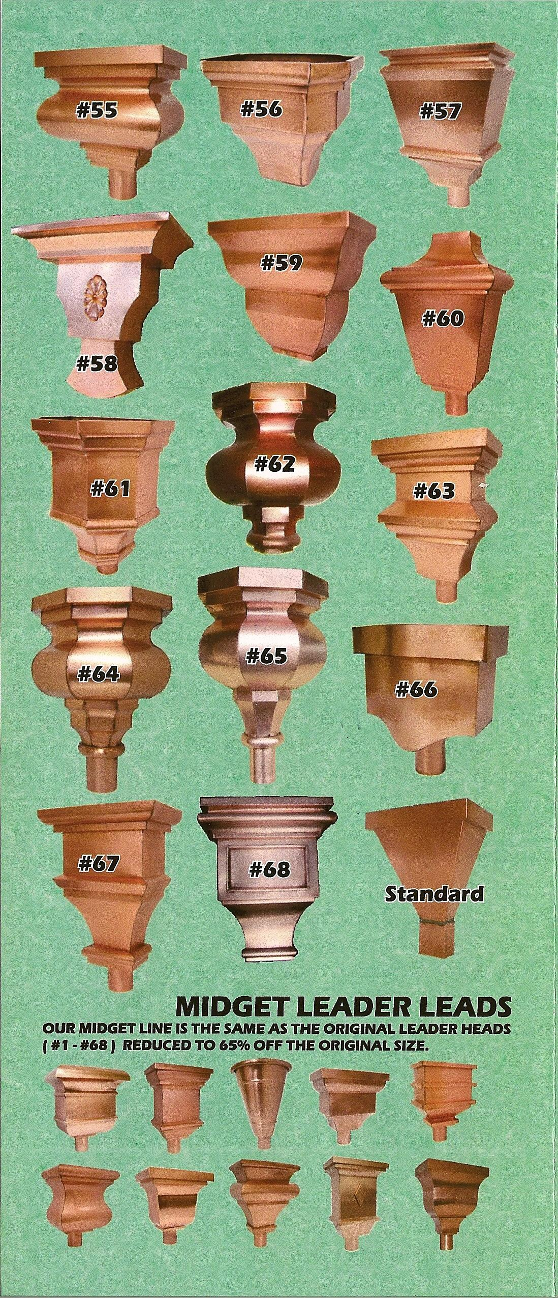 Leader Heads And Conductor Heads : Brass and copper conductor heads