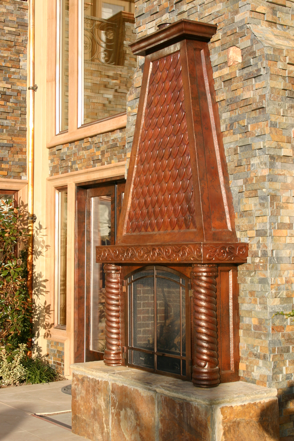 Hand Hammered Copper Fireplace Mantel